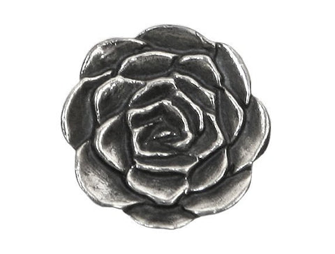 Danforth Rose 5/8 inch Pewter Button Antique Silver Color