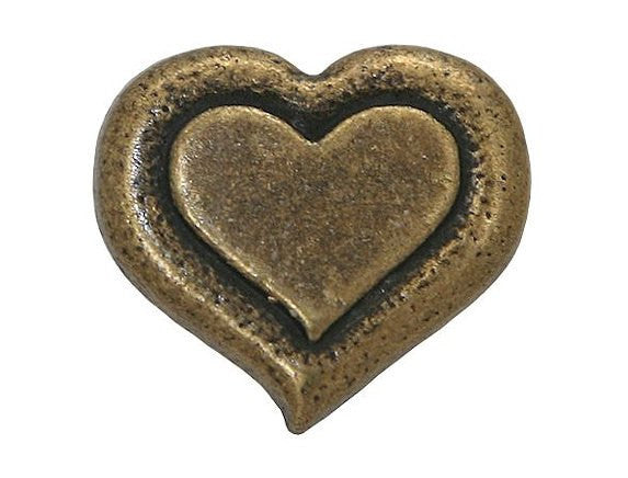 Dill Heartbeat 3/4 inch Metal Button Antique Gold Color