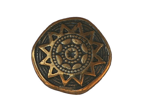 Tiny Sun Star 7/16 inch Metal Button Antique Brass Color