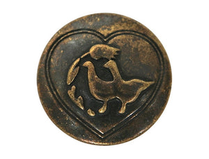 Dill Love Birds 3/4 inch Metal Button Antique Brass Color
