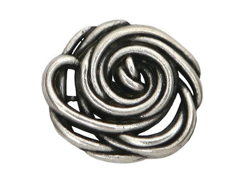 Wild Rose 3/4 inch Metal Button Antique Silver Color