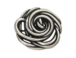 Wild Rose<br>  9/16 inch Metal Button<br>  Antique Silver Color