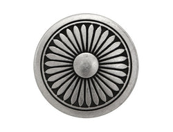 Flower Shield<br>  11/16 inch Metal Button<br>  Antique Silver Color