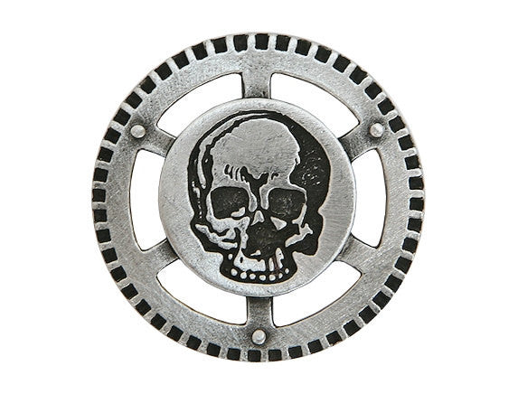 TreasureCast Steampunk Air Pirate Skull 1.25 inch Pewter Button Antique Silver Color