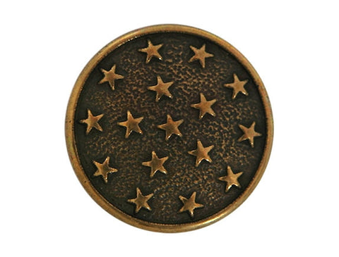 Metal Stars 7/8 inch Metal Button Antique Brass Color