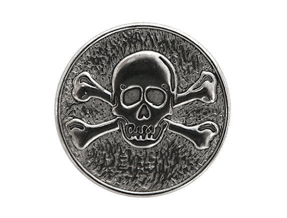 Dill Skull & Crossbones 3/4 inch Metal Shank Button Silver Color