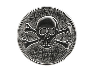 Dill Skull & Crossbones 1 inch Metal Button Silver Color