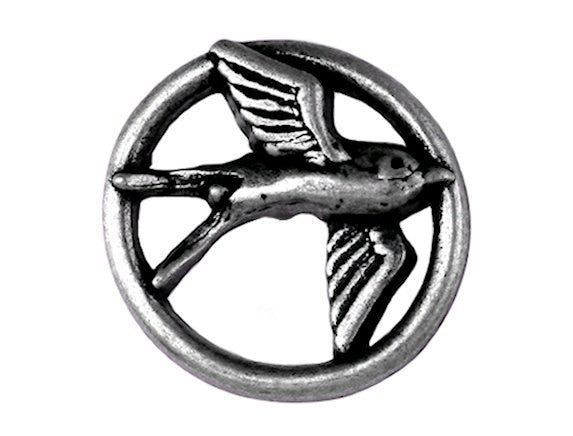 Nicky Epstein Swallow 1 inch Metal Button Antique Silver Color