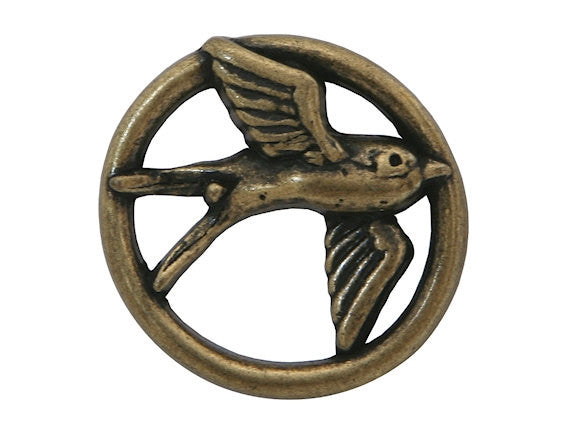 Nicky Epstein Swallow 1 inch Metal Button Antique Brass Color