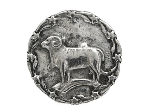 Ram's Horn Standing Ram 7/8 inch Pewter Button Antique Silver Color