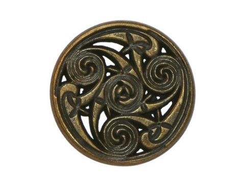Celtic Swirls 11/16 inch Metal Button Antique Brass Color