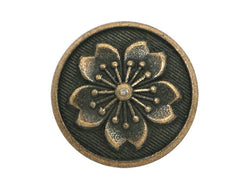 Tiny Snowflake Flower<br>  1/2 inch Metal Button<br>  Antique Brass Color