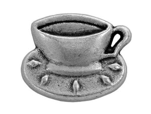 Coffee Cup 3/4 inch  Metal Button Antique Silver Color