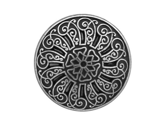 Cutwork 9/16 inch Metal Button Antique Silver Color