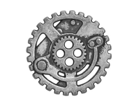 Steampunk Gears 5/8 inch Metal Button Antique Silver Color
