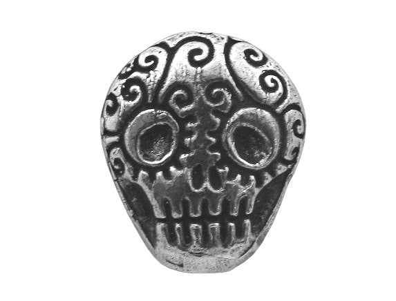 Green Girl Skull 3/4 inch Pewter Button Antique Silver Color
