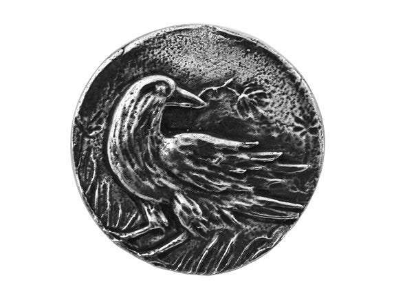 Green Girl Raven 15/16 inch Pewter Button Antique Silver Color