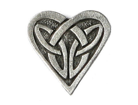 TreasureCast Celtic Heart 3/4 inch Pewter Button Antique Silver Color