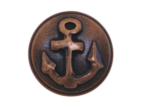 Anchor  3/4 inch Metal Button Antique Brass Color