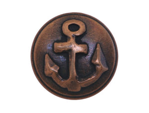 Anchor  5/8 inch Metal Button Antique Brass Color