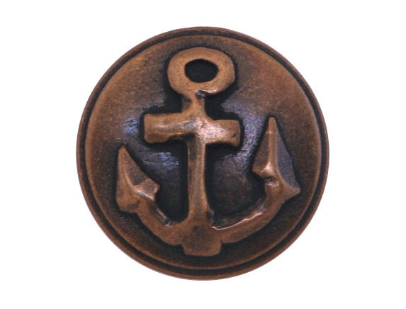 Anchor  7/8 inch Metal Button Antique Brass Color