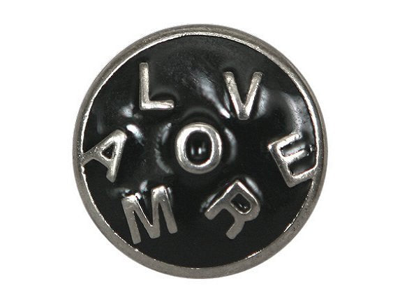 Amore  1 inch Metal Button Silver / Black Color