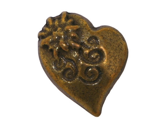 Alpine Heart  13/16 inch Metal Button Antique Brass Color