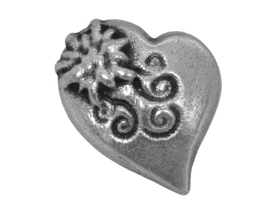 Alpine Heart  13/16 inch Metal Button Antique Silver Color