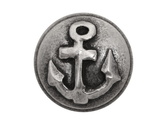 Anchor  5/8 inch Metal Button Antique Silver Color