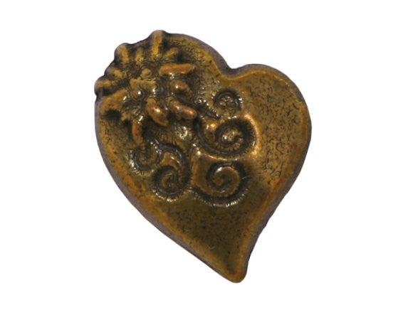 Alpine Heart  5/8 inch Metal Button Antique Brass Color