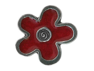 Danforth Red Flower 3/4 inch Pewter Button Antique Silver Color