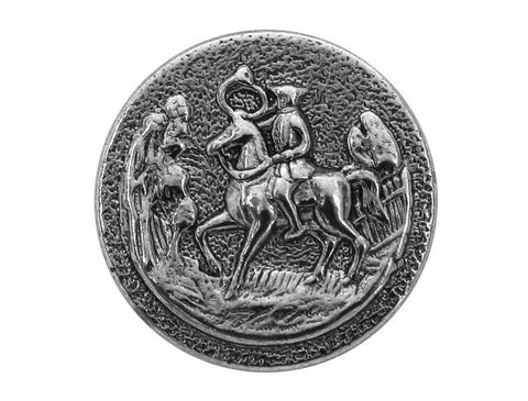 Horseman with Horn 11/16 inch Metal Button Antique Silver Color