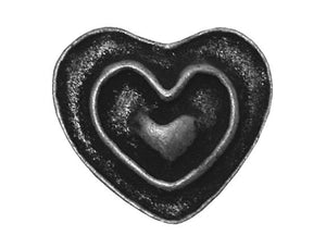 Dill Rustic Heart 11/16 inch Metal Button Antique Tin Color
