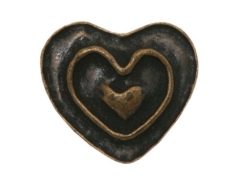 Dill Rustic Heart 11/16 inch Metal Button Antique Brass Color