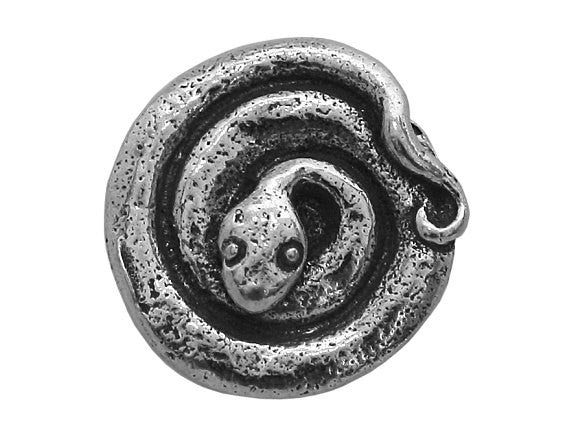 Green Girl Snake 5/8 inch Pewter Button Antique Silver Color