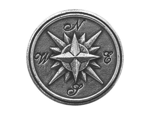 Danforth Compass Rose 7/8 inch Pewter Button Antique Silver Color