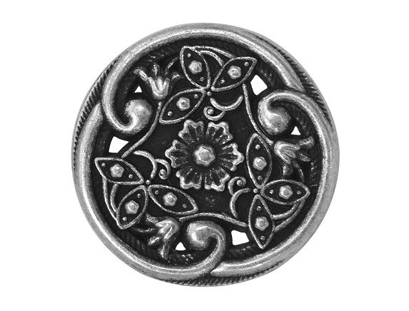 Floral Filigree 7/8 inch Metal Button Antique Silver Color