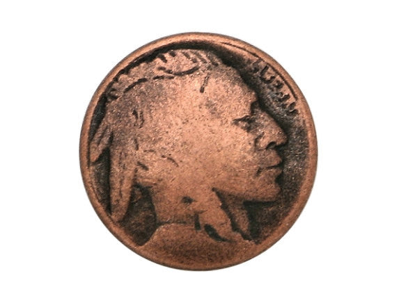 Indian Head 5/8 inch Metal Button Antique Copper Color