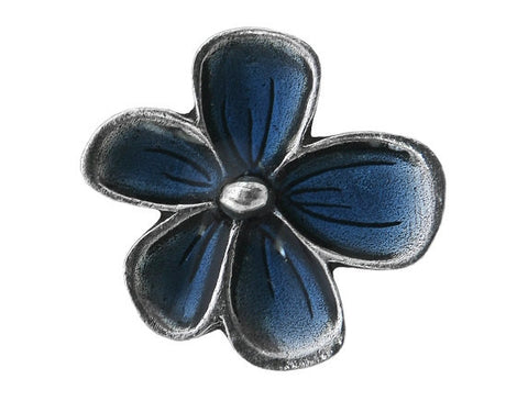 Danforth Blue Posey<br> 15/16 inch Pewter Button<br> Antique Silver Color