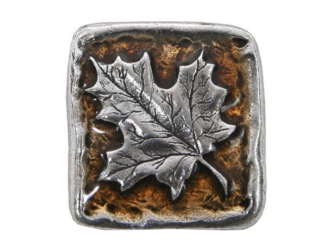 Danforth Autumn Maple Leaf 13/16 inch Pewter Button Antique Silver Color