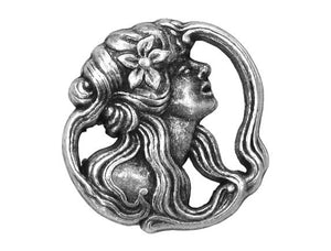 Art Nouveau Lady  7/8 inch Metal Button Antique Silver Color
