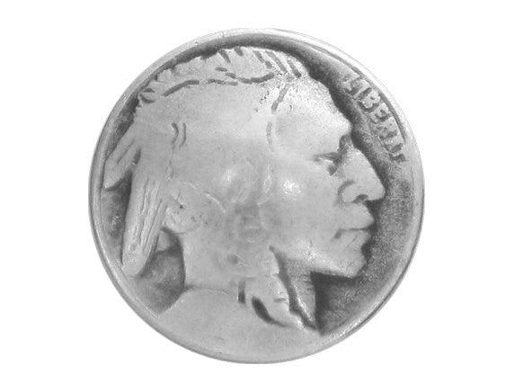 Indian Head 1 inch Metal Button Antique Silver Color