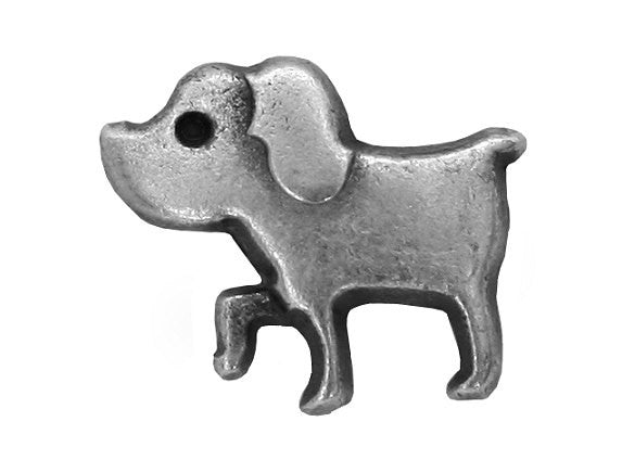 Tiny Dog 1/2 inch  Puppy Dog Metal Button Antique Silver Color
