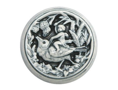 Susan Clarke Cherub on Bird 1 inch Art Stone Button Cream / Blue Color