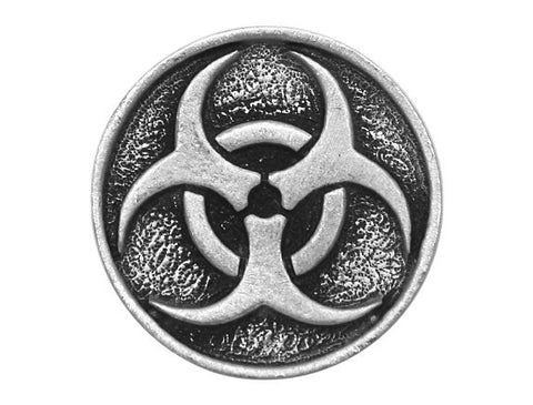 TreasureCast Zombie Biohazard 1 inch Pewter Button Antique Silver Color