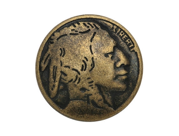Indian Head 5/8 inch Metal Button Antique Brass Color
