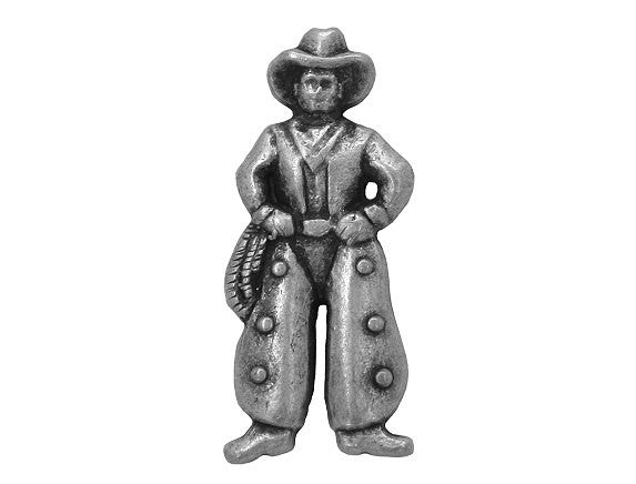 Cowboy Large Metal Button Antique Silver Color