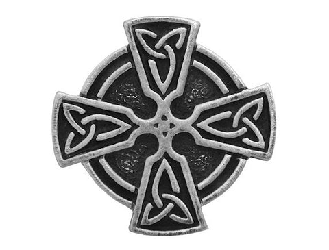 TreasureCast Ringed Celtic Cross 1 inch Pewter Button Antique Silver Color