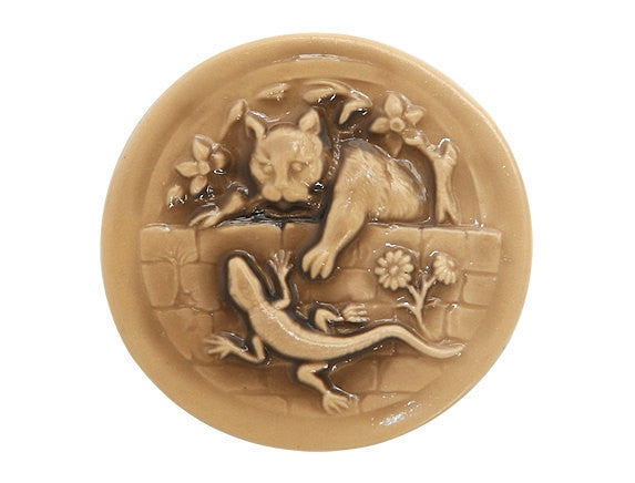 Susan Clarke Large Kitty and Lizard Large Art Stone Button Buttercream Color