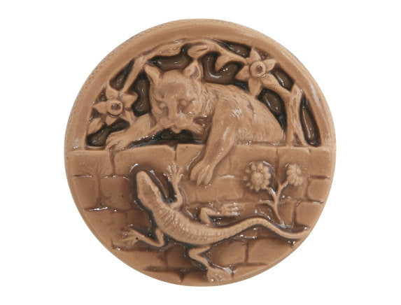 Susan Clarke Kitty and Lizard Large Art Stone Button Caramel Color